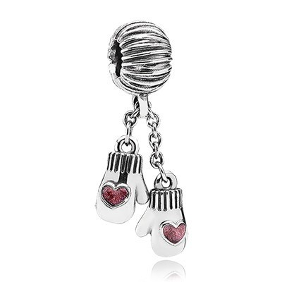 Pandora Red Enamel Winter Mittens Dangle Charm Silver